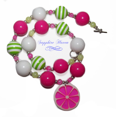 Chunky Bead Necklace-Pink Lemonade
