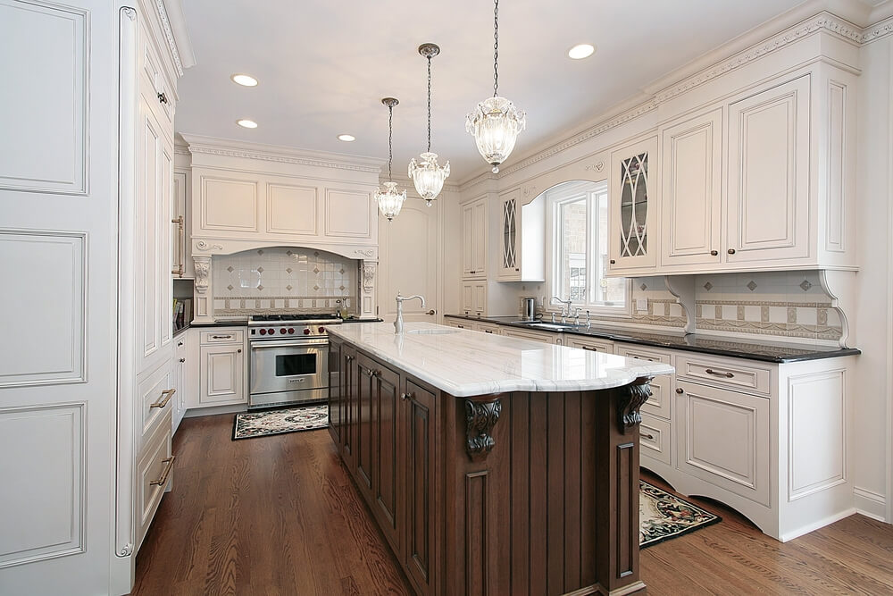 31 New Custom White Kitchens With Wood Islands
