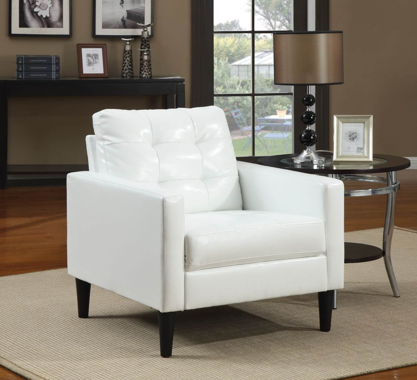 white leather accent chair modern folding electric 37 chairs for the living room