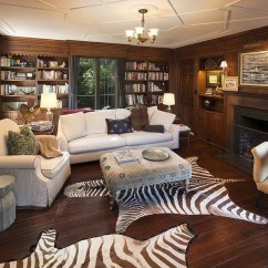 Animal Rugs For Living Room Recessed Lighting 17 Zebra Decor Ideas Pictures Casual Design With Dark Wood Flooring Fireplace White Furniture Built In