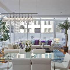 L Shaped Couch Living Room Ideas Decorate My Small Christmas 45 Contemporary Rooms With Sectional Sofas Pictures White Sofa Purple And Blue Pillows Round Arms Anchors This