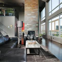 Contemporary Living Room With Black Leather Sofa Set Covers 45 Rooms Sectional Sofas Pictures Spacious Featuring Myriad Textures And Tones Including Chaise Lounge