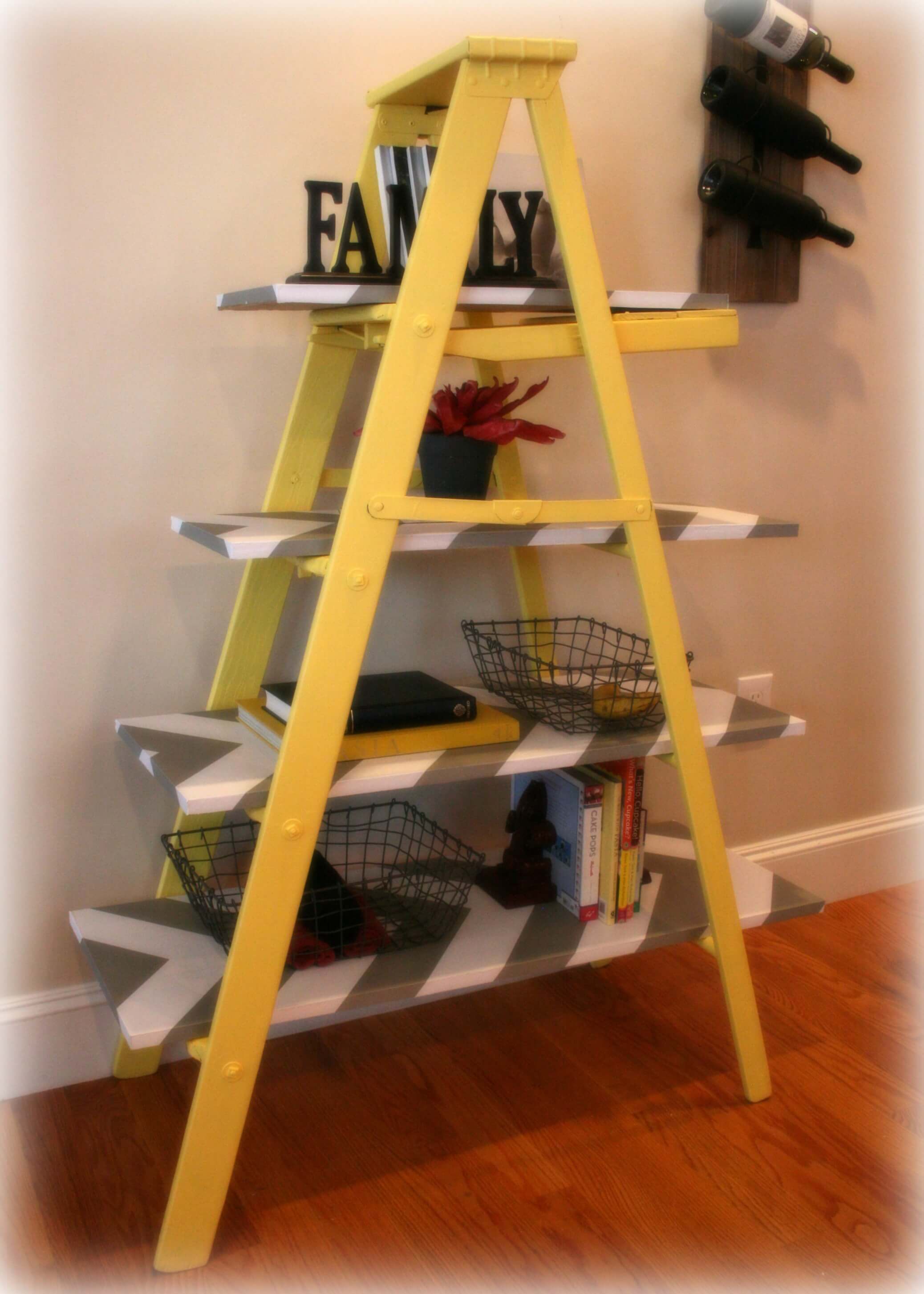 Removable Wallpaper Girls Vintage Yellow Wooden Leaning Ladder Shelf Build It Or