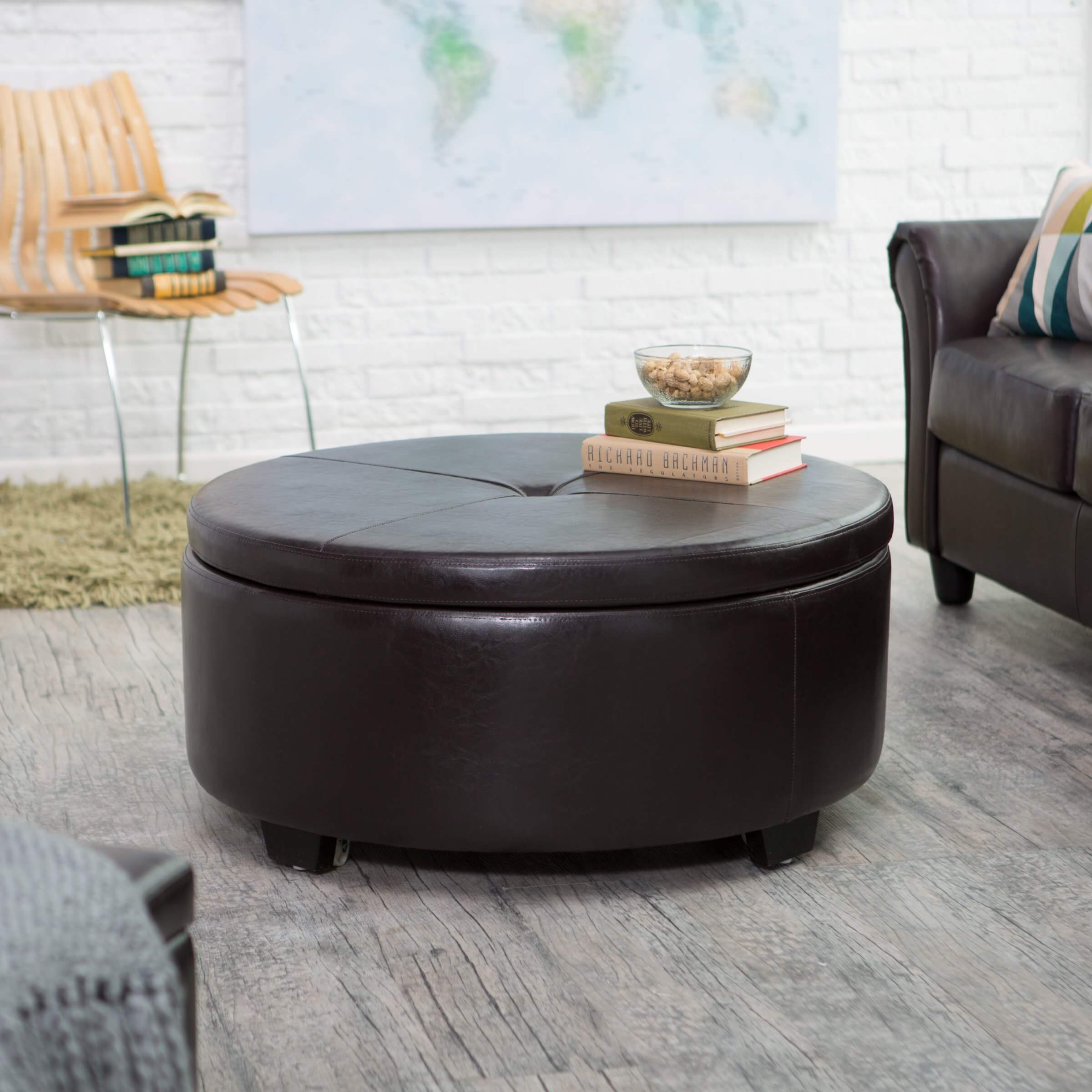Large Tufted Ottoman Round Table Coffee