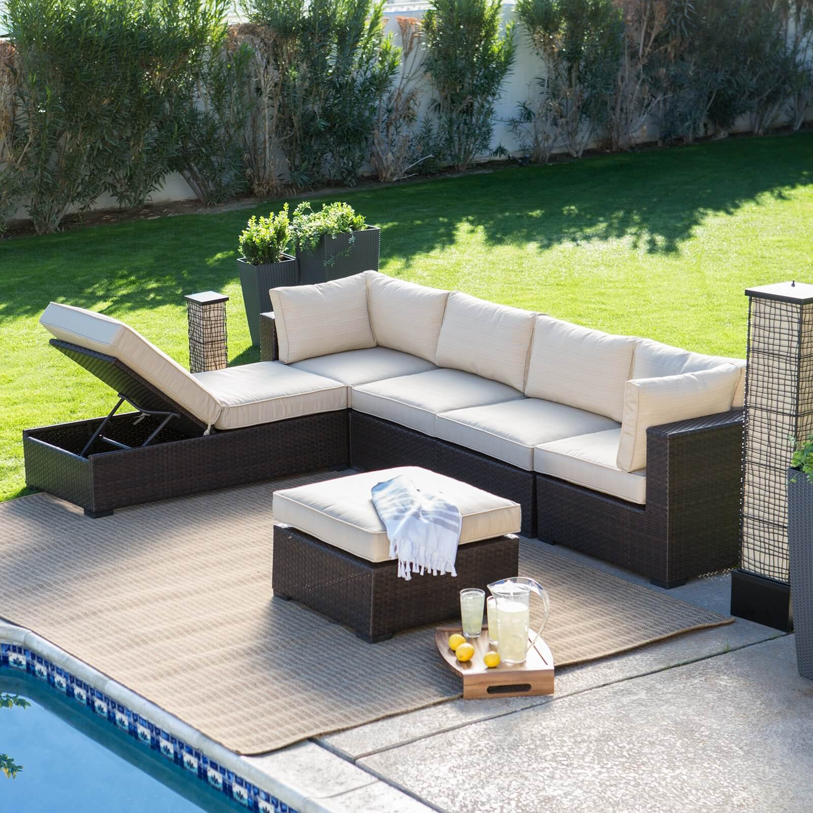 L Shaped Rattan Garden Sofa 25 Awesome Modern Brown All Weather Outdoor Patio Sectionals