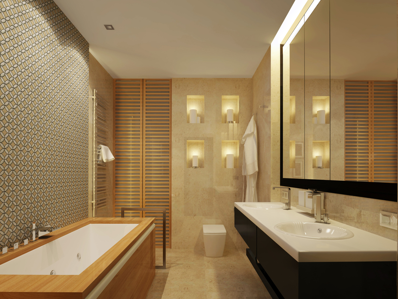 Beige And Black Small Bathrooms