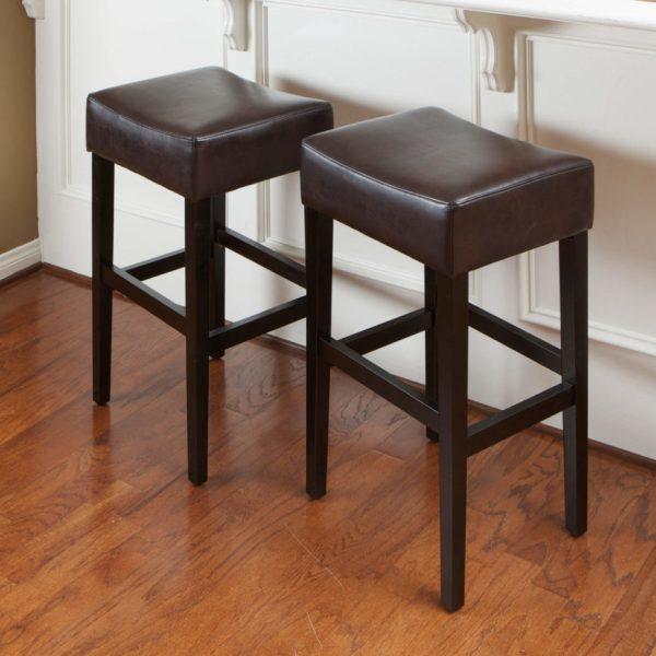 Leather Saddle Seat Bar Stools
