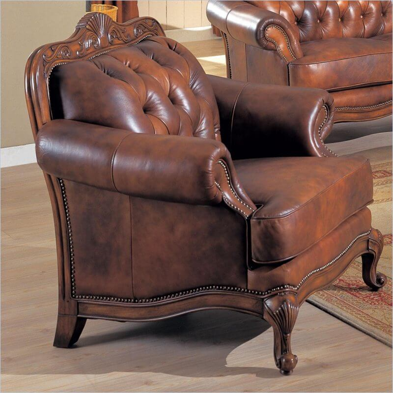Chair Tufted Brown Accent