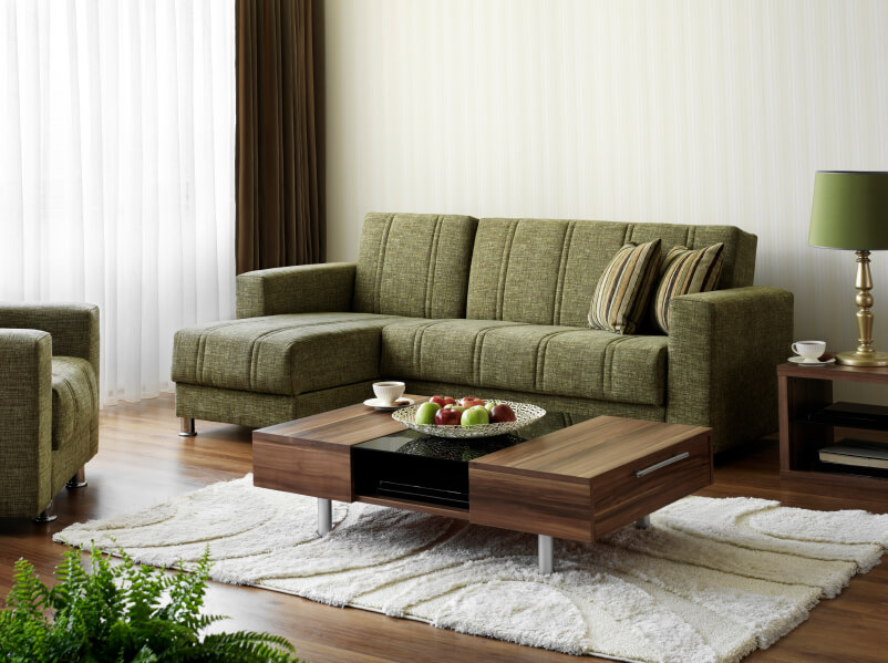 Olive Green And Brown Living Room