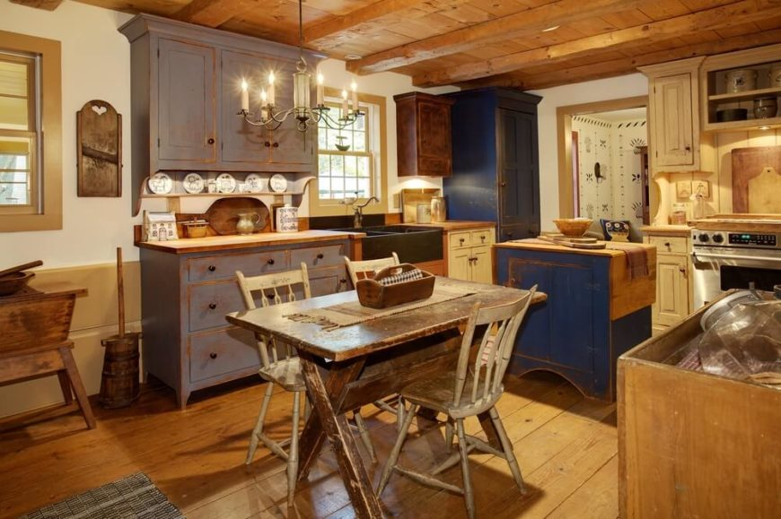 distressed kitchen island butcher block cabinet door fronts 46 fabulous country designs & ideas