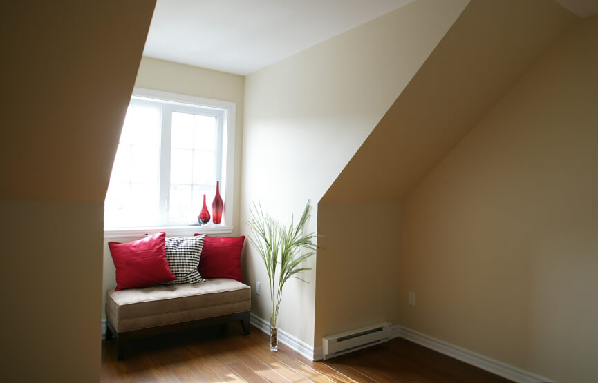 Sofa in nook in attic