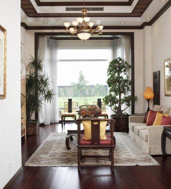 Living Room with Dark Wood Floors