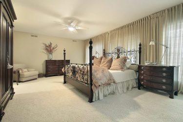 bedroom ceiling master furniture dark wood wall bed floor carpet bedrooms walls light colors outside windows fans fan matching dressers