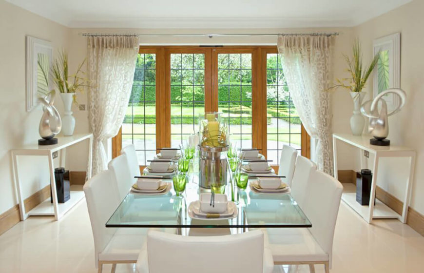 upholstered chairs for dining room big and tall gaming chair 22 elegant rooms with images white glass table