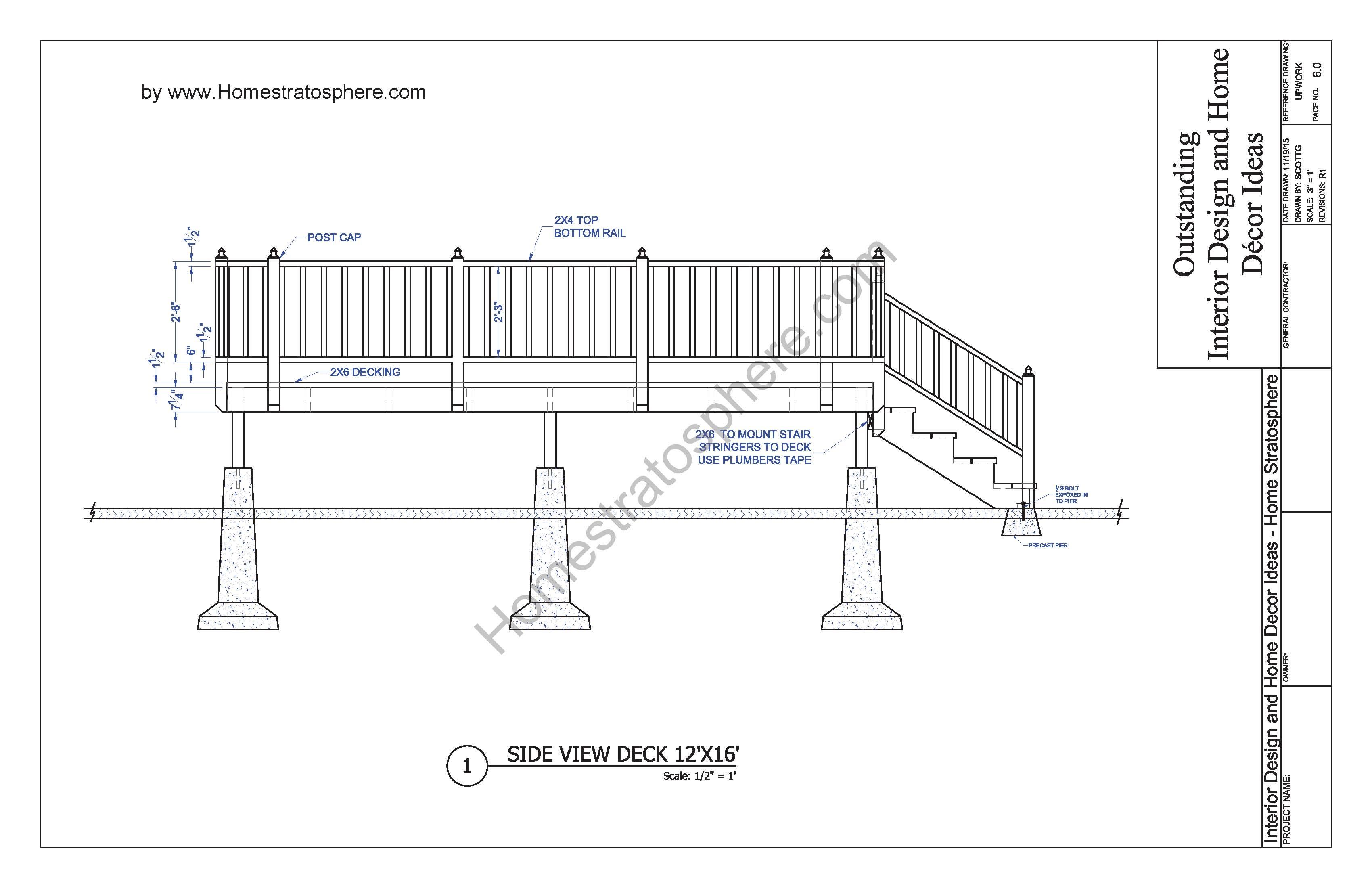 stair railing parts diagram john deere free 12' x 16' deck plan blueprint (with pdf document download)