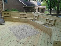Deck Plan with Built-In Benches for Seating and Storage