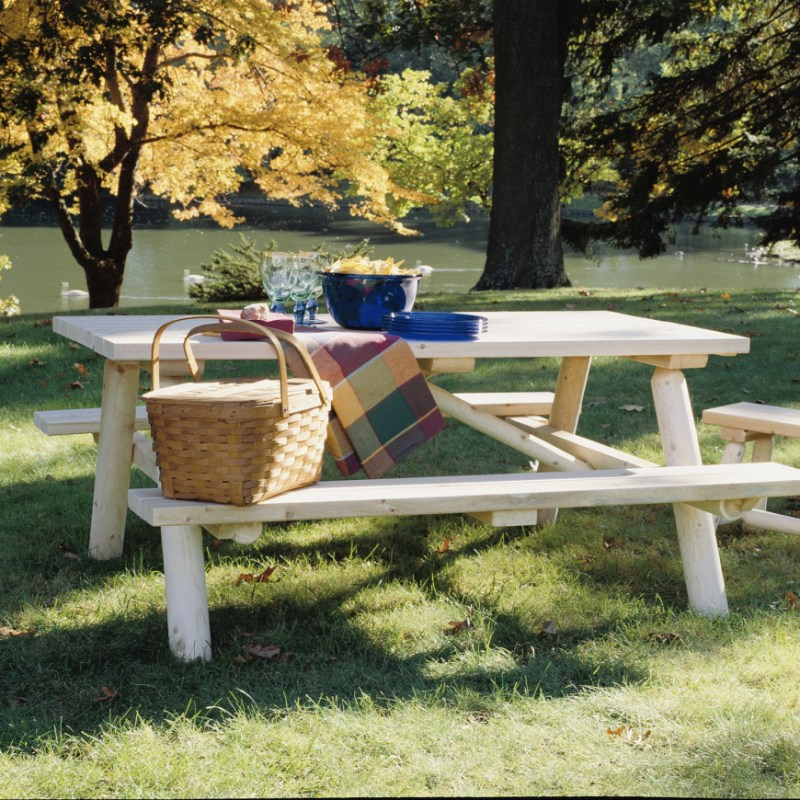 This is what many people envision when they think of picnic tables. This is a high quality picnic table with a thick and sturdy structure. With care, a table of this quality can last you for a very long time.