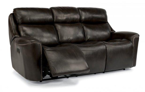 Flexsteel Gray Leather Reclining Sofa Www