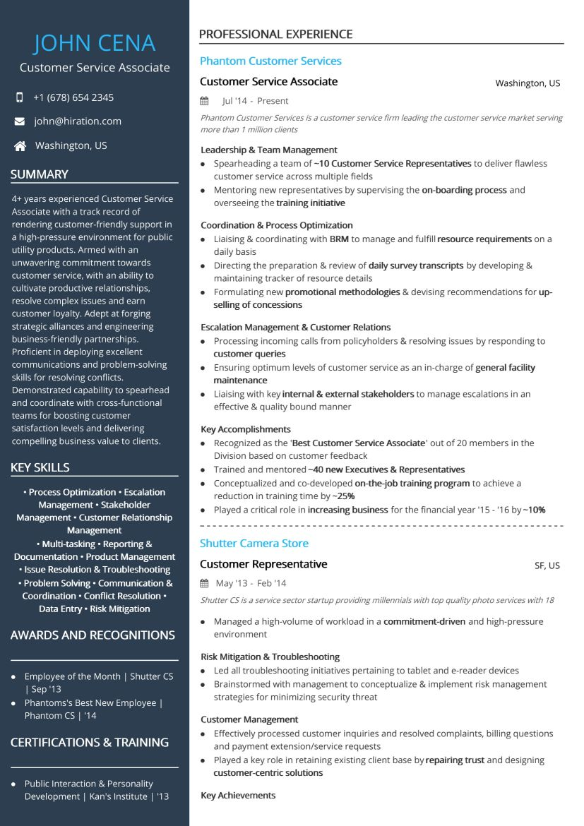 Resume Examples Customer Service Customer Service Associate Resume Sample By Hiration