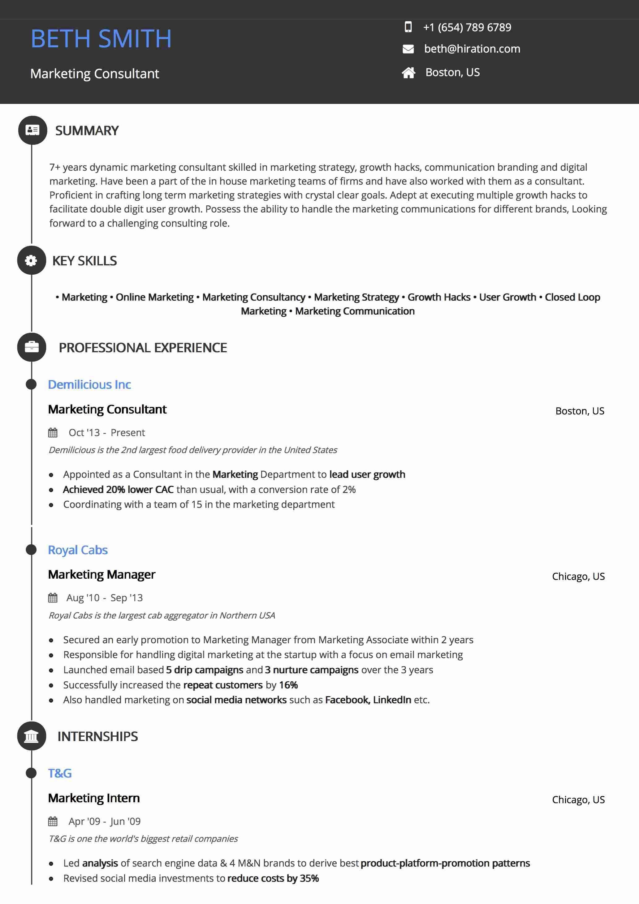 Template with simple design and brush drawed lines royalty free illustration. Resume Template Round Timeline By Hiration