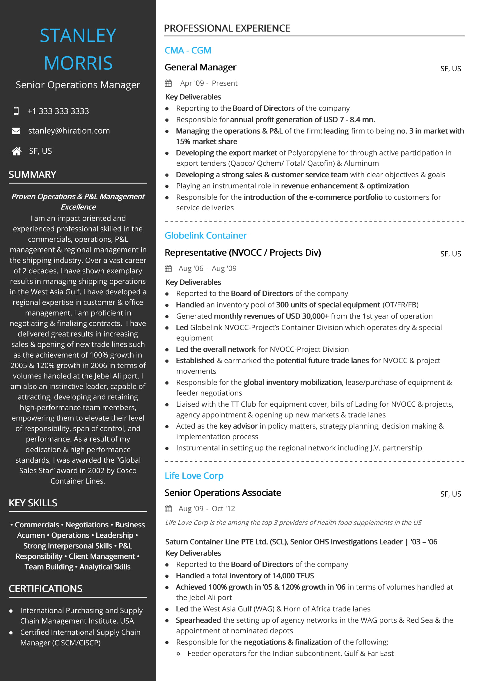 resume profile summary for operations manager