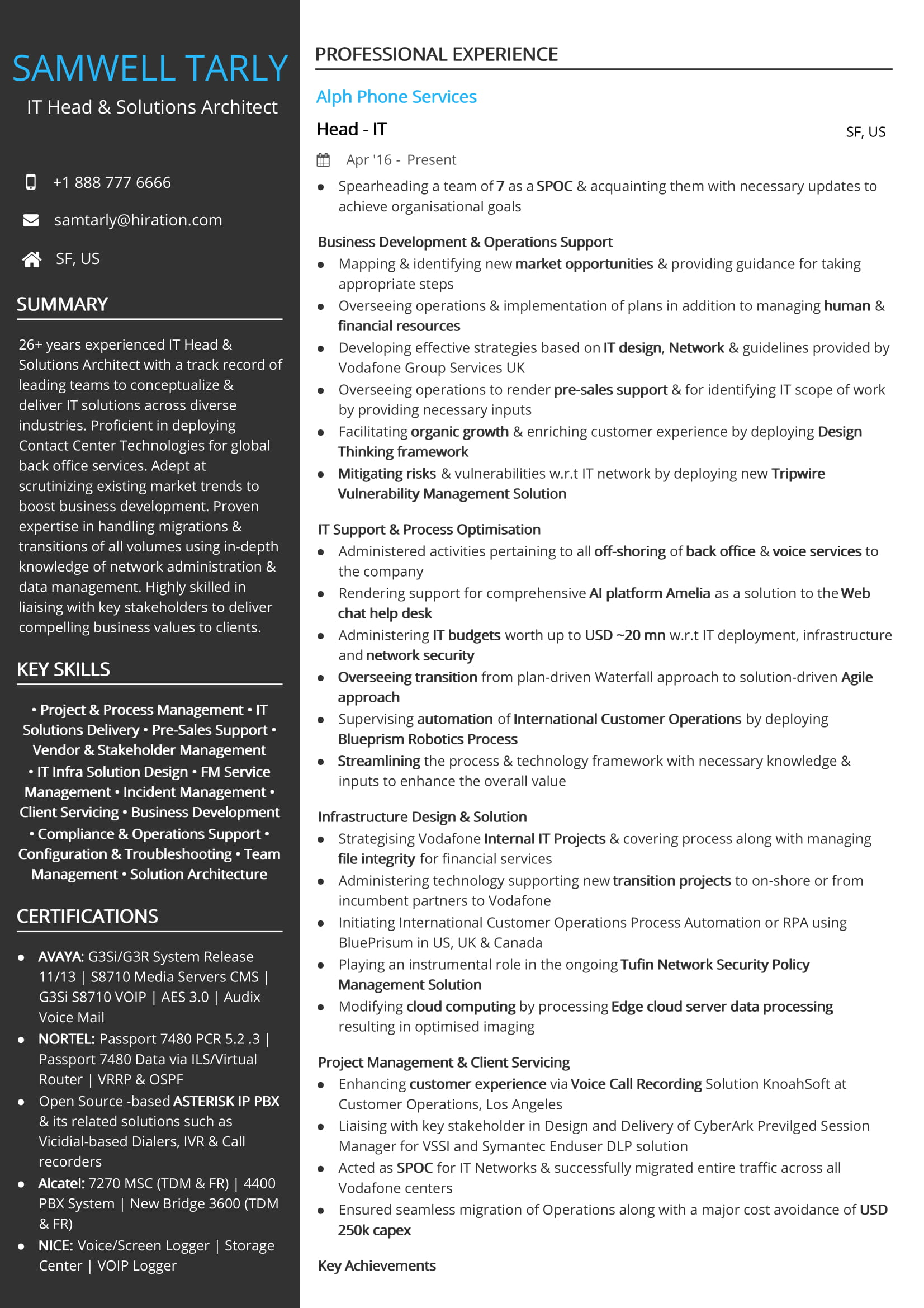 It Head Amp Solutions Architect Resume Sample By Hiration