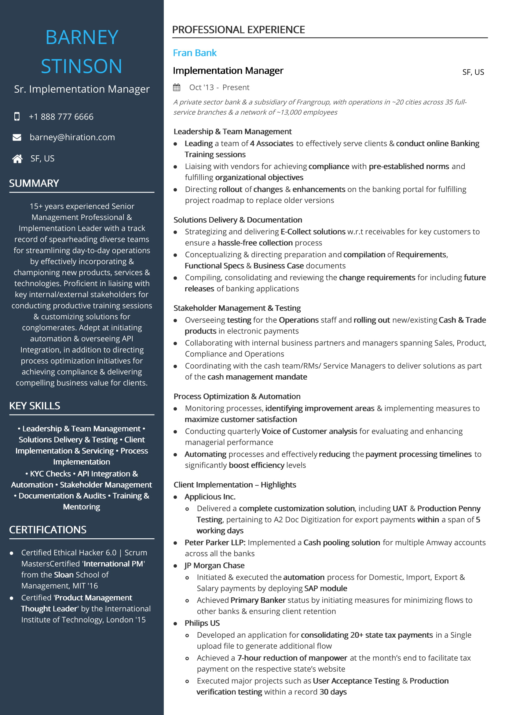 Barney Stinson Resume Senior Implementation Manager Resume Sample By Hiration