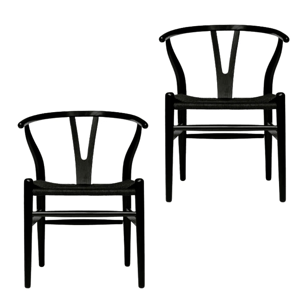 Wishbone Dining Chair Details About Set Of 2 Hans Wegner Replica Wishbone Cord Dining Chair Black Seat Black