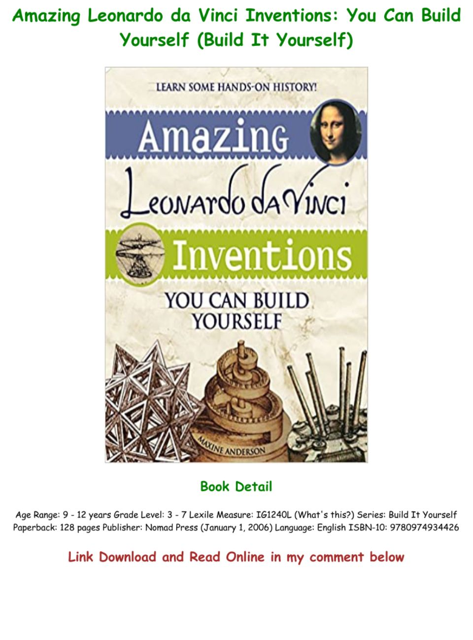 Leonard De Vinci Inventions Pdf : leonard, vinci, inventions, DOWNLOAD, [PDF], Amazing, Leonardo, Vinci, Inventions:, Build, Yourself, (Build, Yourself), Text,, Images,, Music,, Video, Glogster, Interactive, Multimedia, Posters