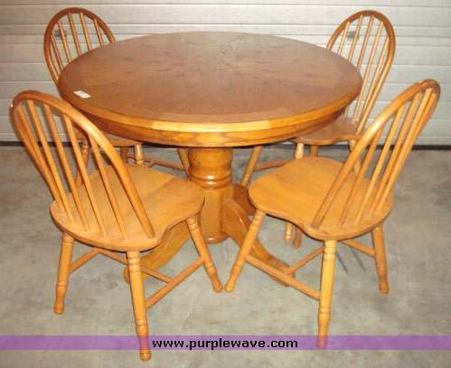 round oak table and chairs queen anne dining chair item 2004 sold april 30 hays internet only auction p for sale in kansas