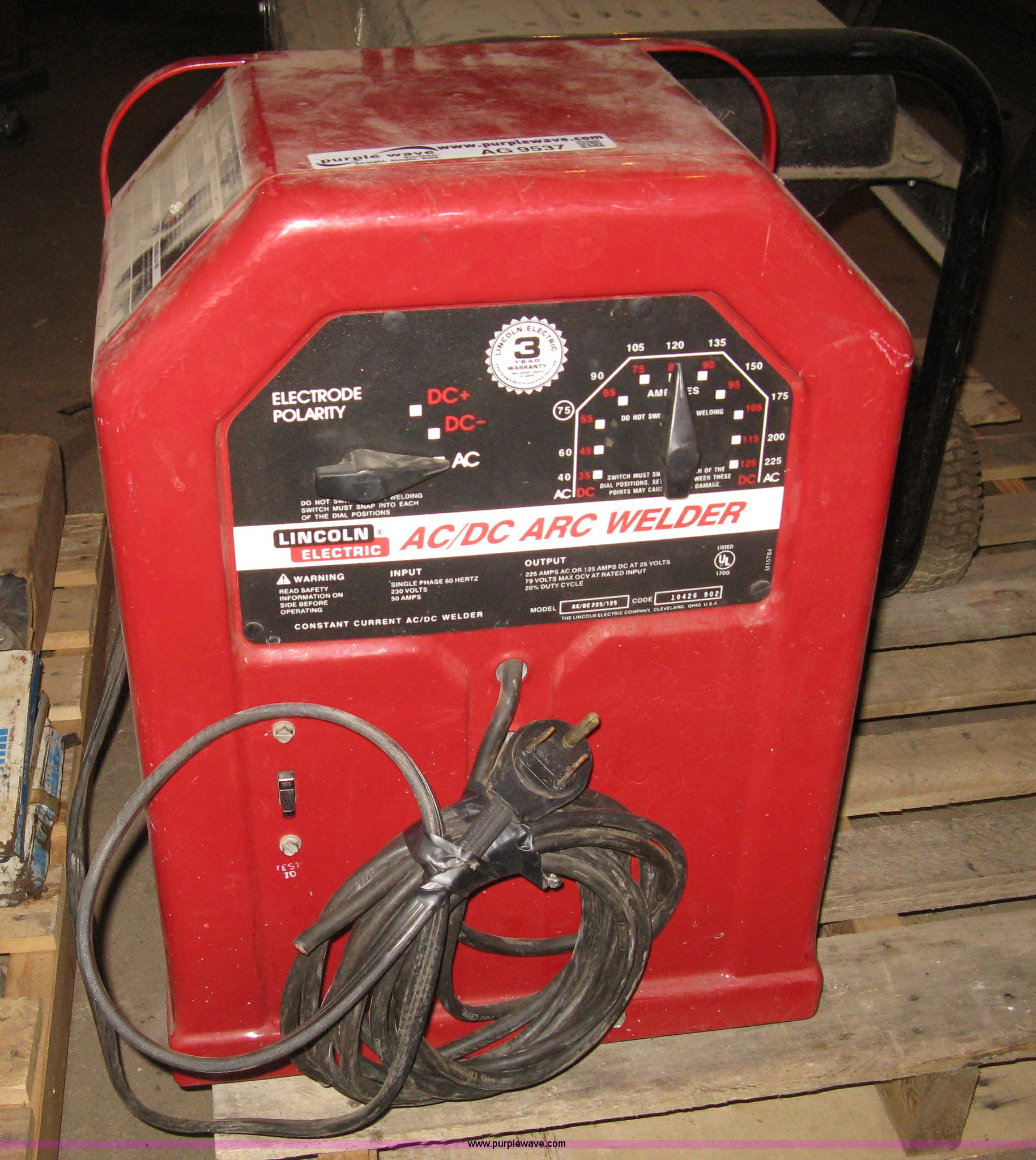 hight resolution of ag9537 image for item ag9537 lincoln 225 125 ac dc arc welder