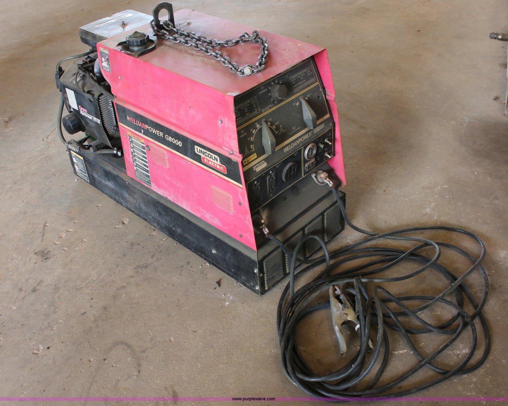 hight resolution of lincoln weldanpower g8000 welder generator item ao9456 s rh purplewave com lincoln g8000 welder generator weldanpower