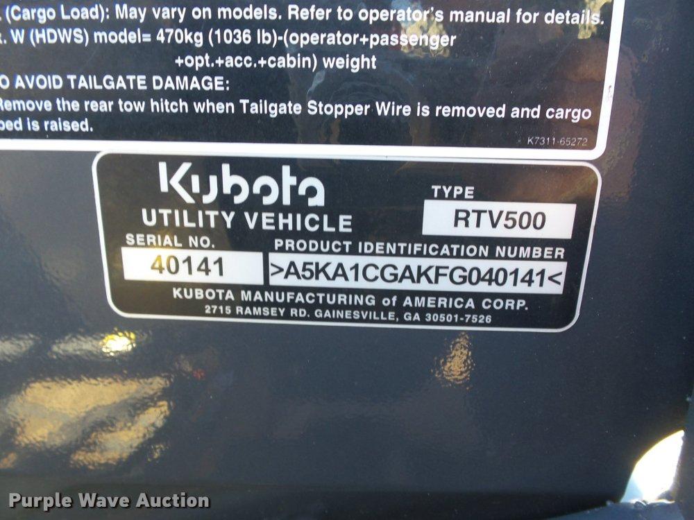 medium resolution of  kubota rtv500 utility vehicle full size in new window