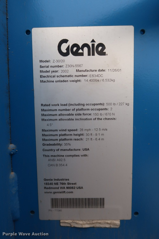 medium resolution of 2002 genie z 30 20n boom lift item df3615 sold may 3 cofull size in