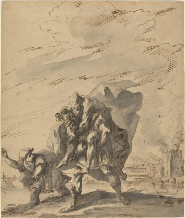 Gaspare Diziani Aeneas Carrying Anchises Burning