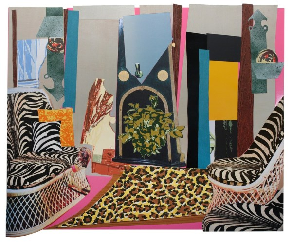Mickalene Thomas Interior Zebra With Two Chairs And