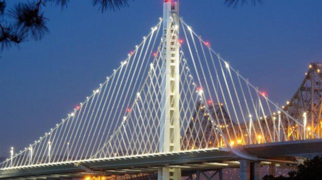 White LED lights light up the new eastern span of the San Francisco Bay Bridge. Photo courtesy Bay Bridge Info/NO