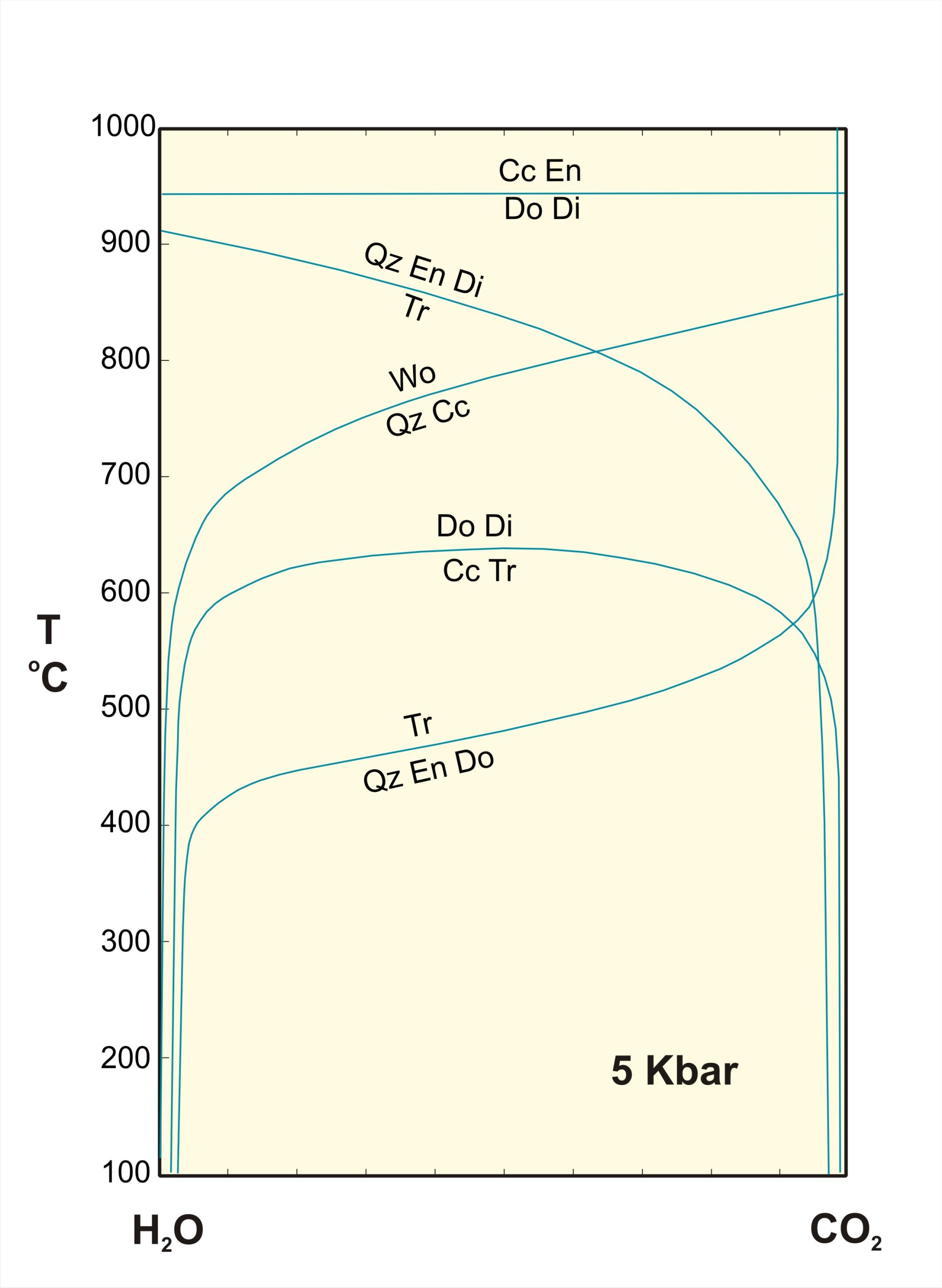 hight resolution of some reactions in the system cao mgo sio2 h2o co2