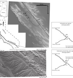 figure 1 location maps and digital elevation models dems of the central coast ranges of california and the gabilan mesa the dem covering the larger area  [ 3879 x 3287 Pixel ]