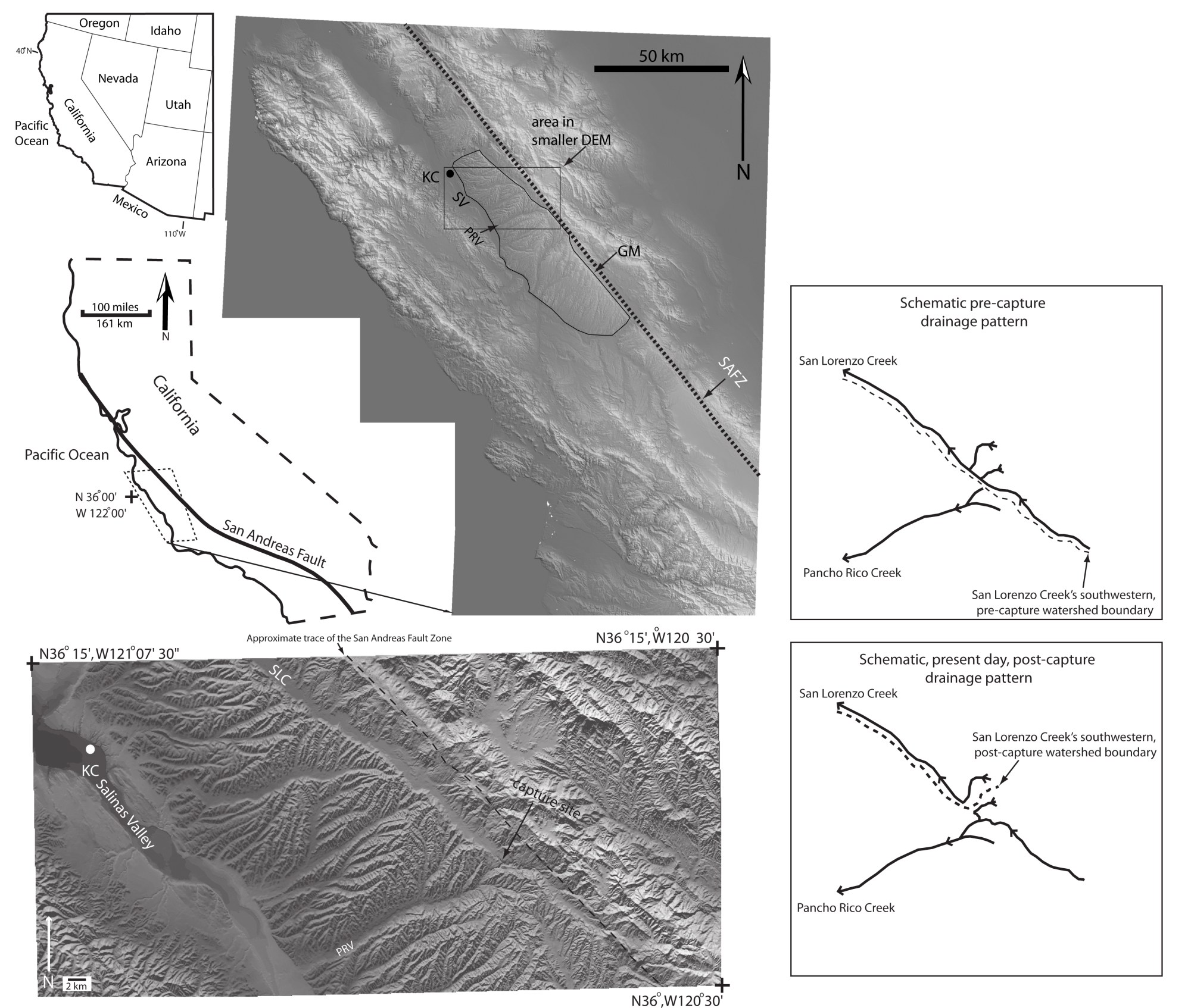 hight resolution of figure 1 location maps and digital elevation models dems of the central coast ranges of california and the gabilan mesa the dem covering the larger area