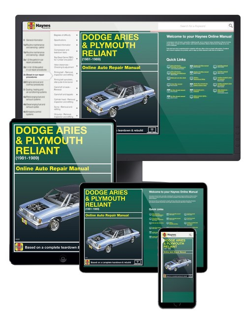 small resolution of dodge aries plymouth reliant 81 89 haynes online manual haynes 1989 dodge aries engine diagram wiring schematic