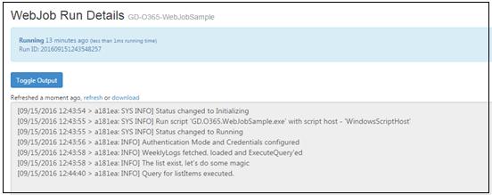WebJob Run Details