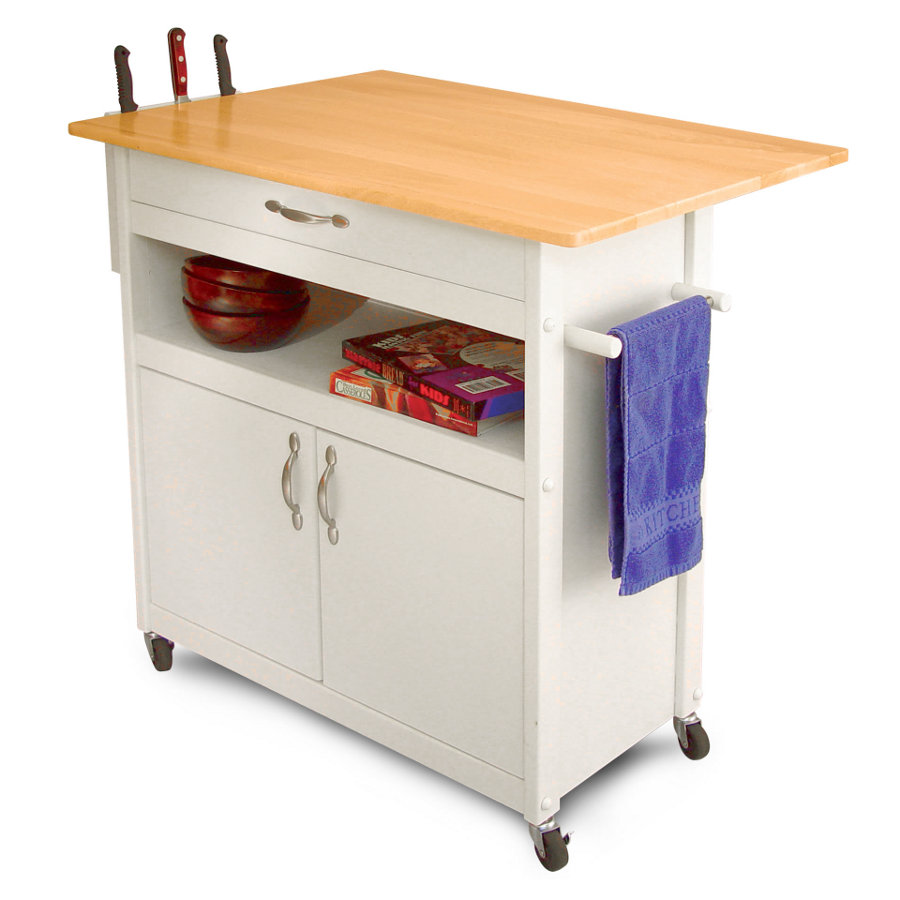 kitchen utility carts outdoor green egg cart with lacquered hardwood top drop leaf catskill white painted base knife rack