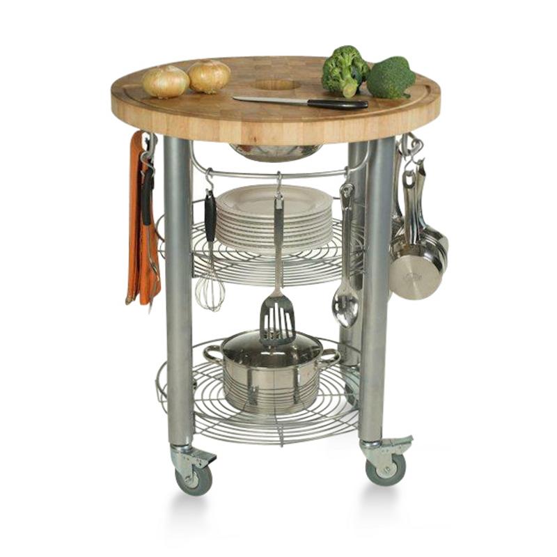 kitchen prep cart american standard white faucet 30 in round 2 butcher block chris pro stadium