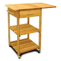 Drop Leaf Kitchen Cart Fan Adds Valuable Work Space Catskill Two Shelf With