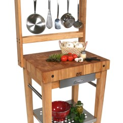 Kitchen Prep Station Chocolate Cabinets John Boos Cucina Premo Work Pot Rack With 30 X24 69 H