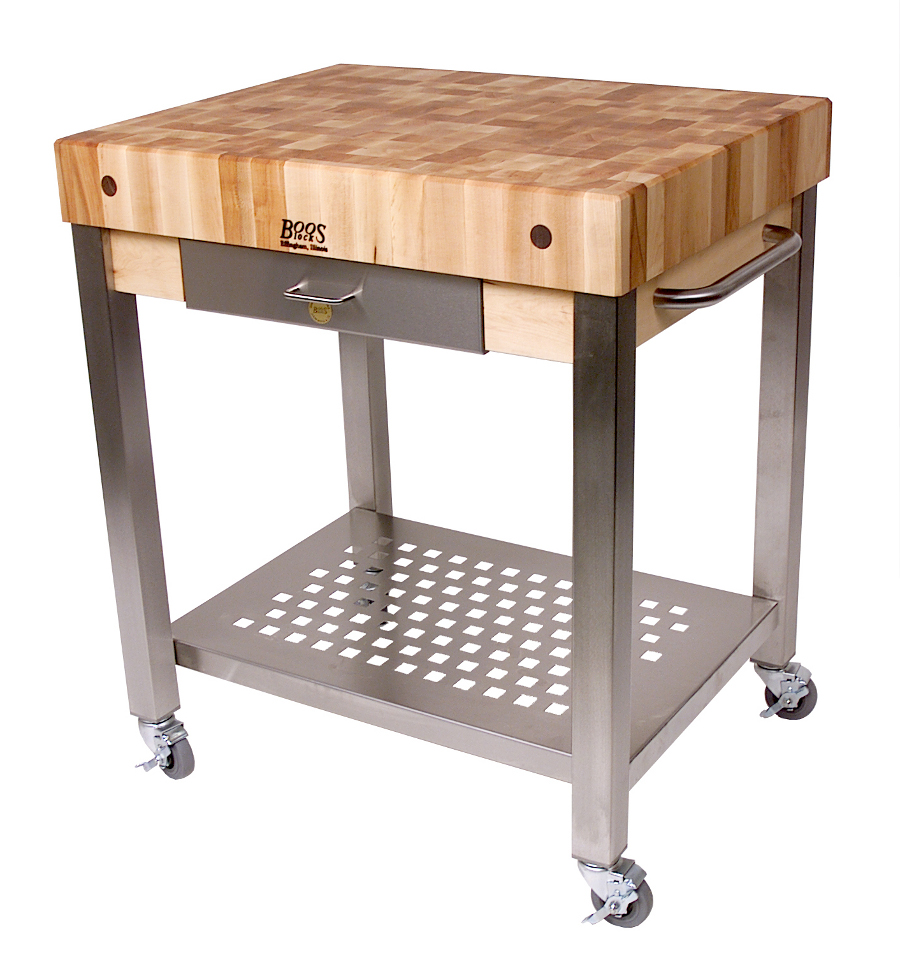 rolling kitchen carts polished brass faucet john boos cart maple cucina technica end grain butcher block w 4 in thick