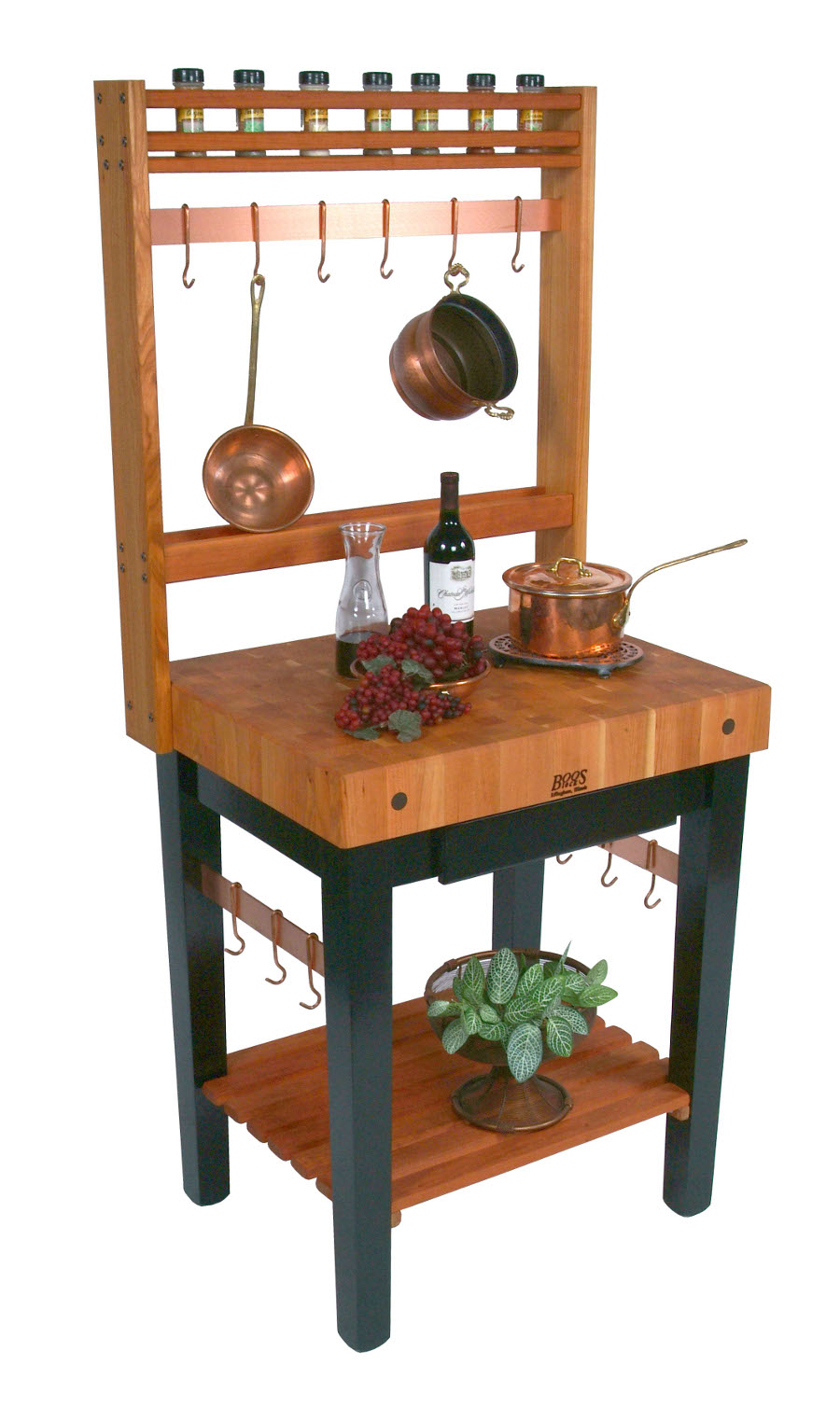 kitchen portable island painted tables movable islands rolling on wheels mobile boos cherry pro prep bloc 4 thick butcher block optional pot rack