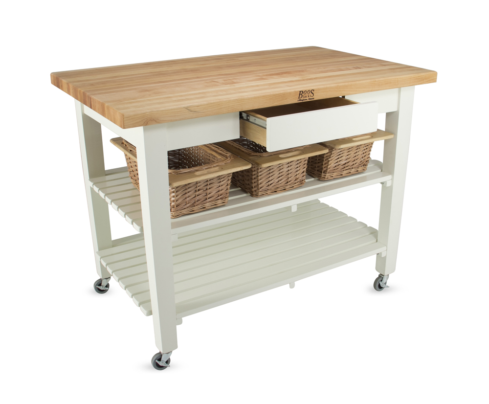 kitchen work tables industrial cleaning services john boos classic country table island with wicker baskets