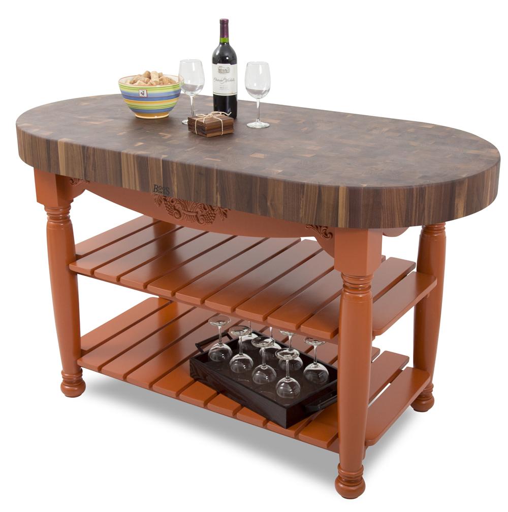 john boos kitchen islands remodel atlanta walnut harvest table oval island 60 x 30 4 end grain butcher block